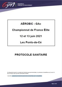 Protocole sanitaire Championnat France ELITE 2021 GAC AEROBIC Les Ponts de Ce