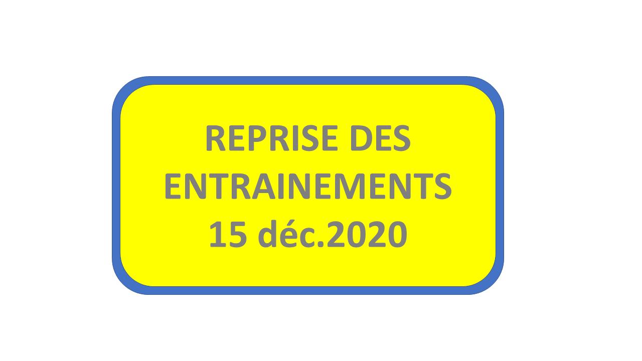 Reprise des entrainements dans le gymnase au 15 décembre 2020